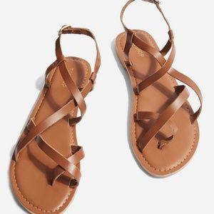 Flat Brown Sandals- Criss-cross straps TopShop